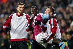 Idrissa Gueye of Aston Villa celebrates scoring a goal to make it 2-0 - Mandatory byline: Rogan Thomson/JMP - 19/01/2016 - FOOTBALL - Villa Park Stadium - Birmingham, England - Aston Villa v Wycombe Wanderers - FA Cup Third Round Replay.