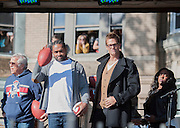 05 November 2012: Patriots linebacker Jerod Mayo and quarterback Tom Brady with Patriots owner Robert Kraft  before Aerosmiths' free concert  in Allston.  Thousands of fans filled Commonwealth Avenue to watch Aerosmith play in front of the building (No. 1325) where band members once lived.  Boston, MA. ***Editorial Use Only*****