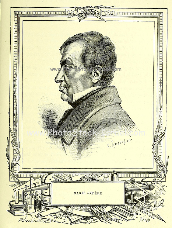 """André-Marie Ampère (20 January 1775 – 10 June 1836) was a French physicist and mathematician who was one of the founders of the science of classical electromagnetism, which he referred to as """"electrodynamics"""". He is also the inventor of numerous applications, such as the solenoid (a term coined by him) and the electrical telegraph. An autodidact, Ampère was a member of the French Academy of Sciences and professor at the École polytechnique and the Collège de France. The SI unit of measurement of electric current, the ampere, is named after him. His name is also one of the 72 names inscribed on the Eiffel Tower. From the Book Les merveilles de la science, ou Description populaire des inventions modernes [The Wonders of Science, or Popular Description of Modern Inventions] by Figuier, Louis, 1819-1894 Published in Paris 1867"""