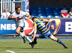 Pau's Jale Vatubua under pressure from  Cardiff Blues' Owen Lane<br /> <br /> Photographer Simon King/Replay Images<br /> <br /> European Rugby Challenge Cup - Semi Final - Cardiff Blues v Pau - Saturday 21st April 2018 - Cardiff Arms Park - Cardiff<br /> <br /> World Copyright © Replay Images . All rights reserved. info@replayimages.co.uk - http://replayimages.co.uk
