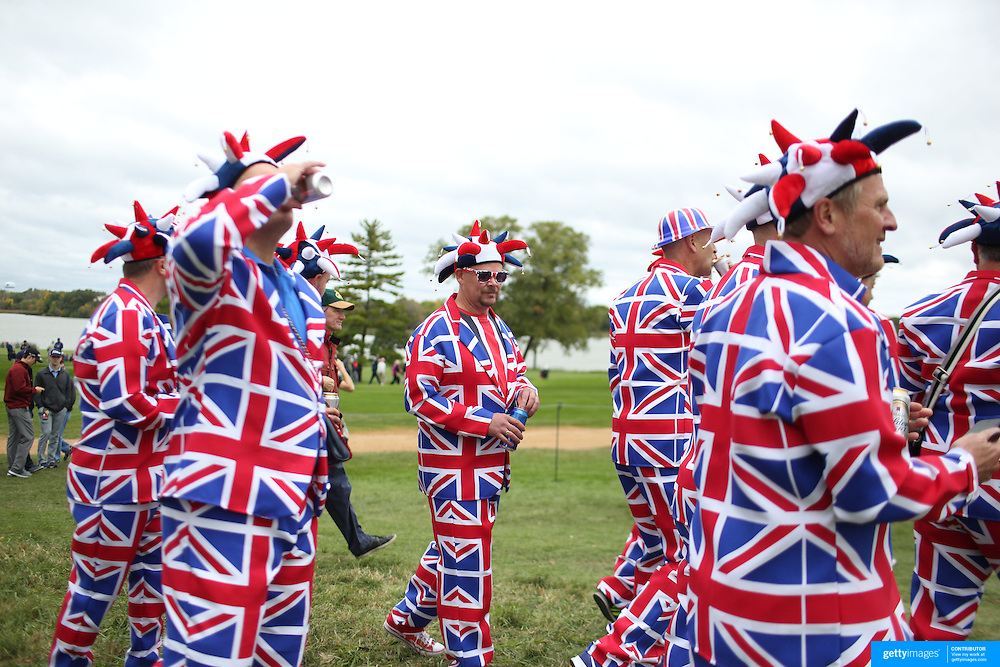Ryder Cup 2016.  Fans wearing Great Britain outfits during practice day at the Hazeltine National Golf Club on September 28, 2016 in Chaska, Minnesota.  (Photo by Tim Clayton/Corbis via Getty Images)