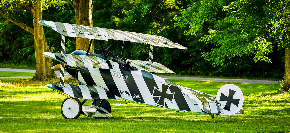 The Fokker Dr.I, often known simply as the Fokker Triplane, was a World War I fighter aircraft built by Fokker-Flugzeugwerke. The Dr.I saw widespread service in the spring of 1918.  <br /> <br /> Created by aviation photographer John Slemp of Aerographs Aviation Photography. Clients include Goodyear Aviation Tires, Phillips 66 Aviation Fuels, Smithsonian Air & Space magazine, and The Lindbergh Foundation.  Specialising in high end commercial aviation photography and the supply of aviation stock photography for advertising, corporate, and editorial use.