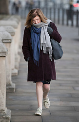 """© Licensed to London News Pictures. 04/12/2017. London, UK.  Sue Gray, Director General, Propriety and Ethics arrives for work in Whitehall. The findings of an inquiry, led by Sue Gray, in to the conduct of MP Damian Green are due to be released, following allegations that """"extreme"""" pornography was found on his computer during a police raid in 2018. Green was already under investigation for allegedly propositioning former Tory activist, Kate Maltby Photo credit: Peter Macdiarmid/LNP"""