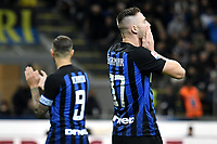 Mauro Icardi and Milan Skriniar of Internazionale react during the Serie A 2018/2019 football match between Fc Internazionale and AC Milan at Giuseppe Meazza stadium Allianz Stadium, Milano, October, 21, 2018 <br />  Foto Andrea Staccioli / Insidefoto