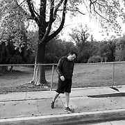 Non-essential businesses such as gyms were ordered closed, so people are literally taking to the streets for fitness. Michael nears the end of a long workout on the street.
