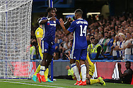 Michy Batshuayi of Chelsea (l) celebrates with Ruben Loftus-Cheek after scoring his sides 3rd goal of the match to make it 3-1 . EFL Cup 2nd round match, Chelsea v Bristol Rovers at Stamford Bridge in London on Tuesday 23rd August 2016.<br /> pic by John Patrick Fletcher, Andrew Orchard sports photography.