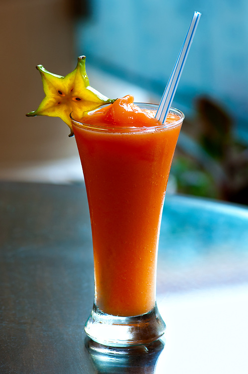 Costa Rica, San Jose, Papaya Fruit Drink With Star Fruit, Gran Hotel