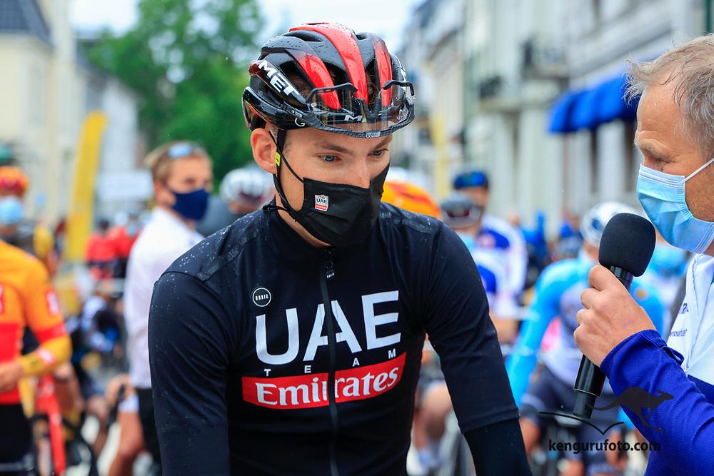 Svein Erik Bystrøm før elite starten til herrene under NM på sykkel 2021 i Kristiansand.