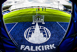 """The :Falkirk"""" sign on the entrance to the tunnell area, at The Falkirk Stadium, for the Scottish Championship game v Hamilton. The woven GreenFields MX synthetic turf and the surface has been specifically designed for football with 50mm tufts compared with the longer 65mm which has been used for mixed football and rugby uses.  It is fully FFA two star compliant and conforms to rules laid out by the SPL and SFL.<br /> ©Michael Schofield."""