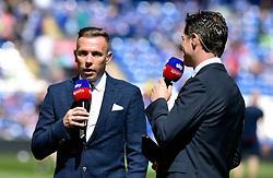 Sky Sports pundit Craig Bellamy (left) during the Sky Bet Championship match at the Cardiff City Stadium.