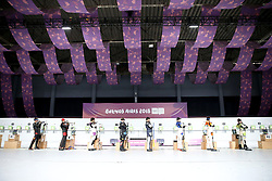 BUENOS AIRES, Oct. 8, 2018  Athletes compete during the Men's 10m Air Rifle Final at the 2018 Summer Youth Olympic Games in Buenos Aires, capital of Argentina, Oct. 7, 2018. Grigorii Shamakov won the first gold of the games with 249.2 points. (Credit Image: © Li Ming/Xinhua via ZUMA Wire)
