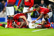 Goal 0-2 Manchester United Midfielder Paul Pogba (6) scores a goal and celebrates during the The FA Cup match between Chelsea and Manchester United at Stamford Bridge, London, England on 18 February 2019.