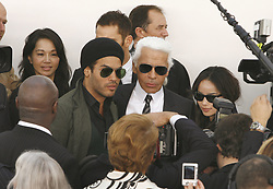 Lenny Kravitz congratulate Designer Karl Lagerfeld after the presentation of Chanel Spring-Summer 2007 Ready-to-Wear collection designed by Karl Lagerfeld held in the 'Grand Palais' Paris, France on October 6, 2006. Photo by Orban-Taamalah-Nebinger-Khayat/ABACAPRESS.COM
