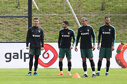 March 20, 2018 - Lisbon, Lisbon, Portugal - Portugal forward Cristiano Ronaldo (L) with Portugal forward Goncalo Guedes (CL) and Portugal defender Bruno Alves (CR) and Portugal defender Rolando (R) during training session at Cidade do Futebol training camp in Oeiras, outskirts of Lisbon, on March 20, 2018 ahead of the friendly football match in Zurich against Egypt on March 23. (Credit Image: © Dpi/NurPhoto via ZUMA Press)