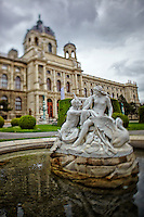 View of the Tritons and Naiads Statue Fountain, and the Museum of Art History, Vienna, Austria.