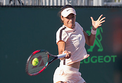 March 22, 2018 - Miami, Florida, United States - Caroline Garcia, from France, in action during her match against Alison Riske from the US during her first round macth at the Miami Open  on March 23, 2018 in Key Biscayne, Florida. Riske defeated Garcia 6-3, 6-1 (Credit Image: © Manuel Mazzanti/NurPhoto via ZUMA Press)