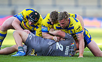 Catalans Dragons' Tom Davies is held by Warrington Wolves' Chris Hill, Matt Davis and Blake Austin<br /> <br /> Photographer Alex Dodd/CameraSport<br /> <br /> Rugby League - Betfred Challenge Cup Quarter Finals - Catalans Dragons v Warrington Wolves - Friday 7th May 2021 - Emerald Headingley Stadium - Leeds<br /> <br /> World Copyright © 2021 CameraSport. All rights reserved. 43 Linden Ave. Countesthorpe. Leicester. England. LE8 5PG - Tel: +44 (0 116 277 4147 - admin@camerasport.com - www.camerasport.com