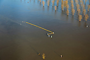 Nederland, Limburg, Roermond, 2011-01-10; hoogwater Maas,  Het hoogwater is een gevolg van sneeuwsmelt en neerslag in de bovenloop van de rivier. Meuse flood, High water due to snow melt and precipitation upstream. .luchtfoto (toeslag), aerial photo (additional fee required).© foto/photo Siebe Swart