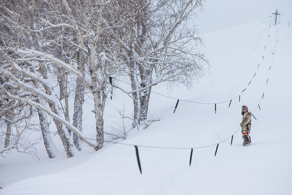 Our backcontry home also came equiped with a tow rope. Lando takes a down day opportunity to get some turns.