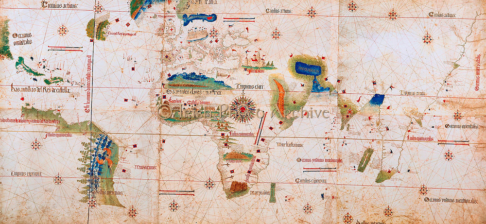 The Cantino planisphere (or Cantino World Map) is the earliest surviving map showing Portuguese Discoveries in the east and west. It is named after Alberto Cantino, an agent for the Duke of Ferrara, who successfully smuggled it from Portugal to Italy in 1502. The map is particularly notable for portraying a fragmentary record of the Brazilian coast, discovered in 1500 by the Portuguese explorer Pedro Álvares Cabral who conjectured that he had landed on a continent previously unknown to Europeans
