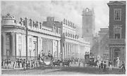 Bank of England building engraving 'Metropolitan Improvements, or London in the Nineteenth Century' London, England, UK 1828 , drawn by Thomas H Shepherd