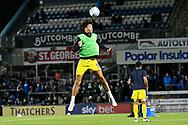 Will Nightingale (5) of AFC Wimbledon warming up before the EFL Sky Bet League 1 match between Bristol Rovers and AFC Wimbledon at the Memorial Stadium, Bristol, England on 23 October 2018.