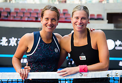 October 7, 2018 - Andrea Sestini Hlavackova & Barbora Strycova of the Czech Republic pose with their trophy at the doubles trophy ceremony of the 2018 China Open WTA Premier Mandatory tennis tournament (Credit Image: © AFP7 via ZUMA Wire)