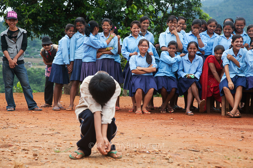 School visit in Deurali in Dhading district. Members of the Green Club perform a play about hygiene and health.