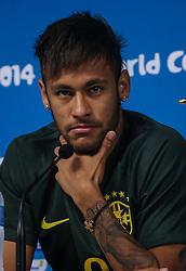 Neymar Jr. durante a coletiva de imprensa no Estádio Arena Corinthians, em São Paulo, SP. A seleção enfrenta a Croácia na abertura da Copa do Mundo 2014. FOTO: Jefferson Bernardes/ Agência Preview