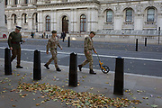 According to protocol, members of the Coldstream Guards mark in chalk the route along Whitehall for a future royal funeral, on 5th October, 2017, in London, England.