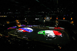 Arena prior to the Ice Hockey match between National Teams of Italy and Slovenia in Round #5 of 2018 IIHF Ice Hockey World Championship Division I Group A, on April 28, 2018 in Arena Laszla Pappa, Budapest, Hungary. Photo by David Balogh / Sportida