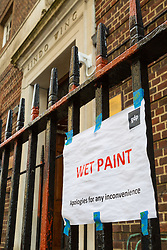 The railings outside the Lindo Wing maternity unit of St Mary's Hospital in Paddington are being primed ahead of being repainted in time for the impending visit by Kate The Duchess of Cambridge who is expecting her and Prince William the Duke of Cambridge's third child. London, March 28 2018.