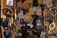 Morocco, Marrakesh. Metal wares for sale in the souk just north of Djemaa El Fna.