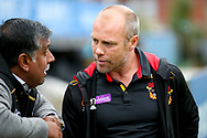 Bradford Bulls coach Geoff Toovey talks to a supporter after the victory in the Kingstone Press Championship match between Sheffield Eagles and Bradford Bulls at, The Beaumont Legal Stadium, Wakefield, United Kingdom on 3 September 2017. Photo by Simon Davies.