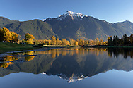 Mount Cheam reflected in the waters of Maria Slough on Seabird Island (Sq'éwqel), Agassiz, British Columbia, Canada