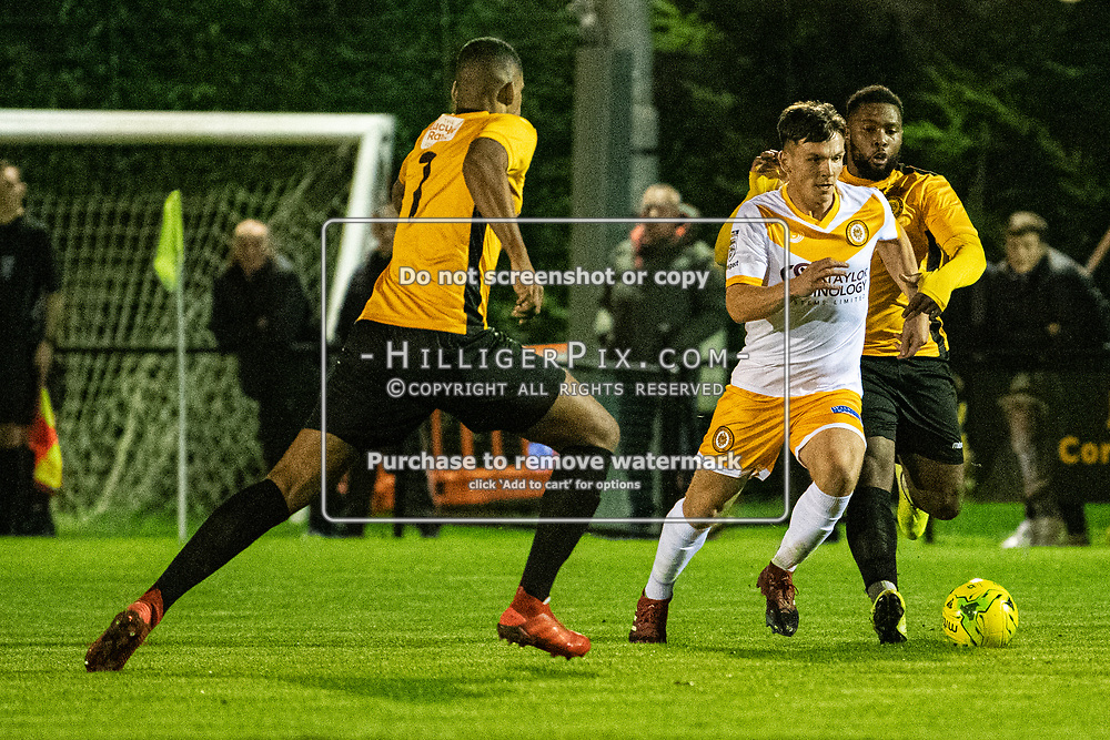 MERSTHAM, UK - OCTOBER 15: Tom Carlse, of Cray Wanderers FC, bursts forward during the BetVictor Isthmian Premier League match between Merstham and Cray Wanderers at The Whisky Bible Stadium on October 15, 2019 in Merstham, UK. <br /> (Photo: Jon Hilliger)