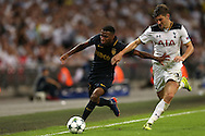 Thomas Lemar of AS Monaco is intercepted by Ben Davies of Tottenham Hotspur. UEFA Champions league match, group E, Tottenham Hotspur v AS Monaco at Wembley Stadium in London on Wednesday 14th September 2016.<br /> pic by John Patrick Fletcher, Andrew Orchard sports photography.