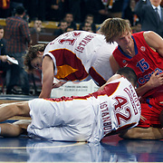 CSKA Moscow's Andrei Kirilenko (R) during their Euroleague Top 16 basketball match Galatasaray MP between CSKA Moscow at the Abdi Ipekci Arena in Istanbul at Turkey on Thursday, February, 09, 2012. Photo by TURKPIX