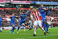 Peter Crouch of Stoke City (c) heads and scores his teams 2nd goal to make it 2-2. Premier league match, Stoke City v Leicester City at the Bet365 Stadium in Stoke on Trent, Staffs on Saturday 4th November 2017.<br /> pic by Chris Stading, Andrew Orchard sports photography.