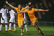 BenTozer of Newport county ® celebrates after he scores his teams 1st goal.  EFL Skybet football league two match, Newport county v Barnet at Rodney Parade in Newport, South Wales on Tuesday 25th October 2016.<br /> pic by Ryan Hiscott, Andrew Orchard sports photography.