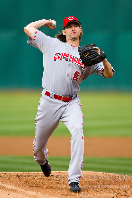 June 22, 2010; Oakland, CA, USA;  Cincinnati Reds starting pitcher Bronson Arroyo (61) pitches against the Oakland Athletics during the first inning at Oakland-Alameda County Coliseum.