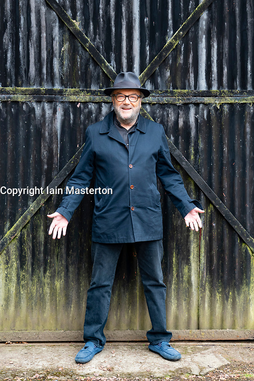 Lanark, Scotland, UK. 15 April 2021. George Galloway and candidates for the All for Unity party (formerly Alliance for Unity)  make live streamed campaign speeches ahead fo Scottish election at New Lanark conservation village in Lanark today.  Iain Masterton/Alamy Live News