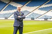 Steve Clarke arrives at the National Stadium, Hampden Park to meet the press following his appointment as the Scotland National Team head coach along pictured pitch side, Glasgow, United Kingdom on 21 May 2019.