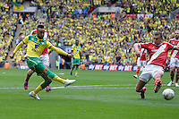 Norwich City's Nathan Redmond scores his sides second goal <br /> <br /> Photographer Craig Mercer/CameraSport<br /> <br /> Football - The Football League Sky Bet Championship Play Off Final - Middlesbrough v Norwich City - Monday 25th May 2015 - Wembley - London<br /> <br /> © CameraSport - 43 Linden Ave. Countesthorpe. Leicester. England. LE8 5PG - Tel: +44 (0) 116 277 4147 - admin@camerasport.com - www.camerasport.com