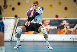Dustin Bontrop of Vocasa in action during the first league match in the corona lockdown between Talentteam Papendal vs. Vocasa on January 13, 2021 in Ede.