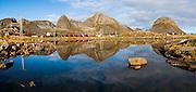 Houses on the coast in Sorland, Vaeroy Island, Lofoten Islands, Norway.