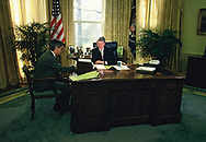President William Jefferson Clinton meets with Secretary of the Treasury Robert Rubin during the first week of his presidency<br /><br />Photograph by Dennis Brack