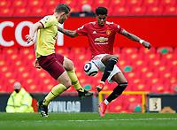 Football - 2020 / 2021 Premier League - Manchester United vs Burnley - Old Trafford<br /> <br /> Marcus Rashford and James Tarkowski of Burnley at Old Trafford<br /> <br /> Credit COLORSPORT/LYNNE CAMERON
