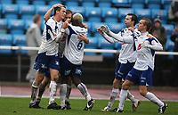 Fotball Adeccoliga 1 divisjon <br /> Sandnes Ulf - FK Haugesund 251008<br /> <br /> Foto: Sigbjørn Andreas Hofsmo, Digitalsport<br /> <br /> jubel etter scoring av Cameron Weaver - Victorian Djedje