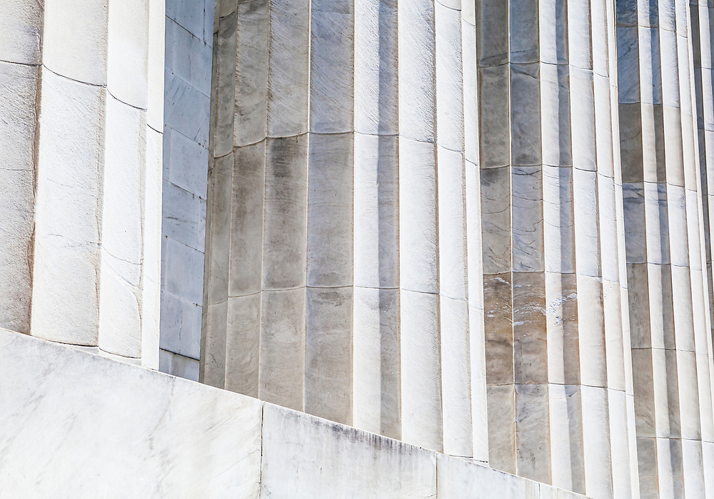 A detail of marble columns on the Lincoln Memorial in Washington DC, USA.